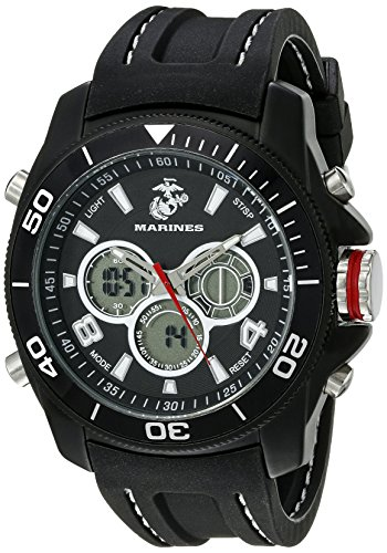 Wrist Armor Mens 37100014 U. S. Marine Corps Black Watch with Rubber Band