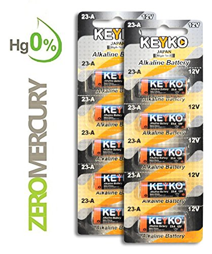 23a 12 Volt Alkaline Batteries (A23 Battery 12V Alkaline Genuine KEYKO ® KT-23A Type: A23s / MN21 / Gp23ae 10-Pcs-Pack for Garage Doors Opener Keyless Entry Doorbells and Alarm Remote)