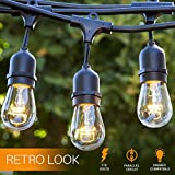 Proxy Lighting 48 Foot Weatherproof Outdoor String Lights - UL Listed - 15 Hanging Sockets - Perfect Patio Lights - Black - 16 11S14 Incandescent Bulbs Included
