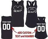 CRAZYDAISYWORLD Beast Beauty Mouse EarCustomized Text Name Design Couple Tank Top Size Men M Women M