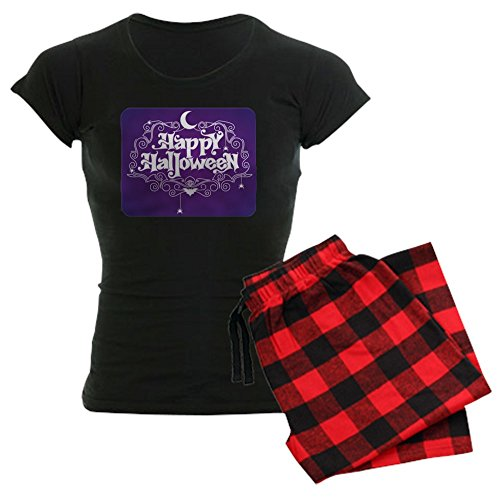 (Royal Lion Women's Dark Pajamas Happy Halloween Bats and Spiders - Red Plaid, Large)