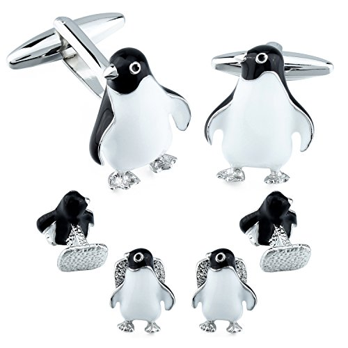 Novelty Mens Cufflinks and Tuxedo Studs Set Animal Penguin Gift for ()