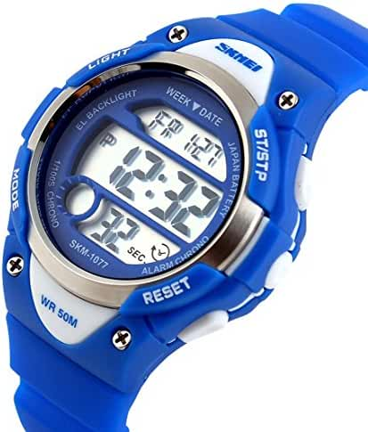 USWAT Children Watch Outdoor Sports Kids Boy Girls LED Digital Alarm Waterproof Wristwatches Dress Watches Blue