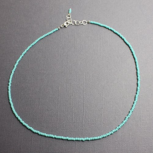 Tiny Turquoise Choker Necklace-Turquoise Color Bead, Single Strand, Adj 14