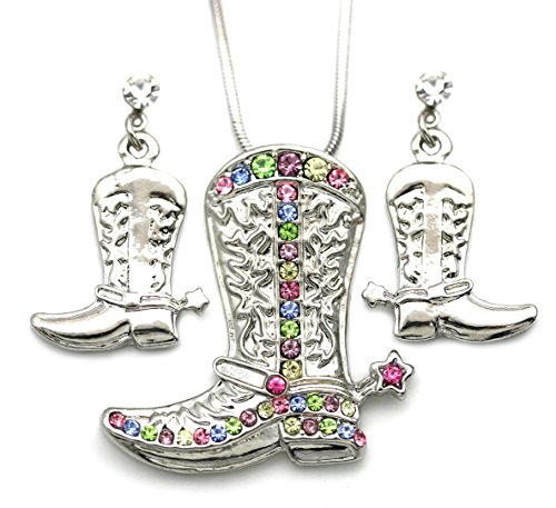 SoulBreezeCollection Lucky Western Cowboy Cowgirl Boots Necklace Pendant Charm & Earrings 2-piece Set (Western Wedding Boots)