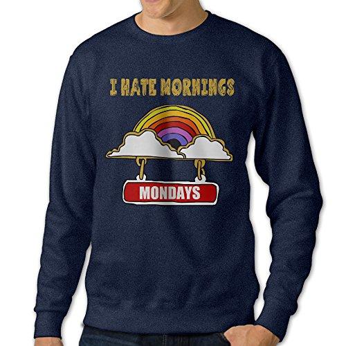 Missone I Hate Morning Mens Pullover Sweatshirt XX-Large Navy (Blink 182 Halloween Tee)