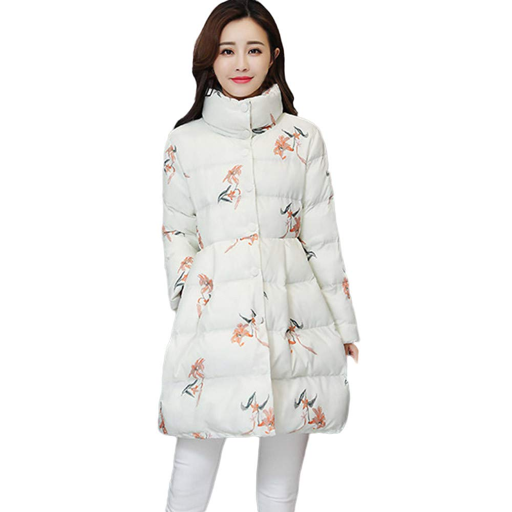 Women Winter Windproof Warm Printing Down Artificial Cotton Long Jackets Pocket Coats by Dacawin