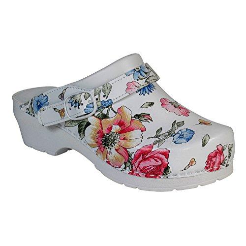 Unisex UK 6 Line mehrfarbig Deko Arbeitsclogs 40 Mehrfarbig Footwear Weiß mehrfarbig 5 AWC Blumenmuster EU PIpwWOaq