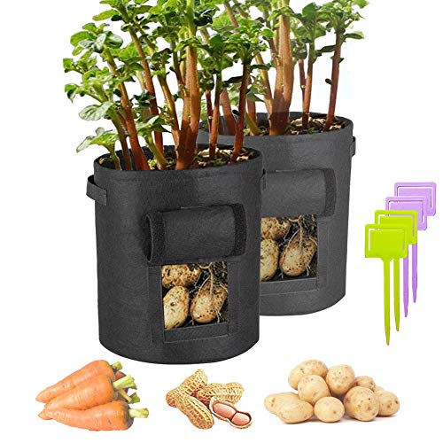 Hilucky Plant Grow Bags, 2 Pcs 7 Gallon Potato Planter Bags Garden Tub for Vegetable Growing with Handles and Flap ()