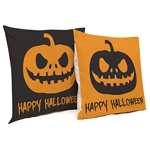 Halloween Decorations - Happy Halloween Pillowcase Covers - 2 Pack - 2 Scary Pumpkin Design - Orange & Black Colors - Perfect for Couch, Sofa, Bed, Bench, Car Seat, Etc. (Scary Halloween Pumpkin Designs)