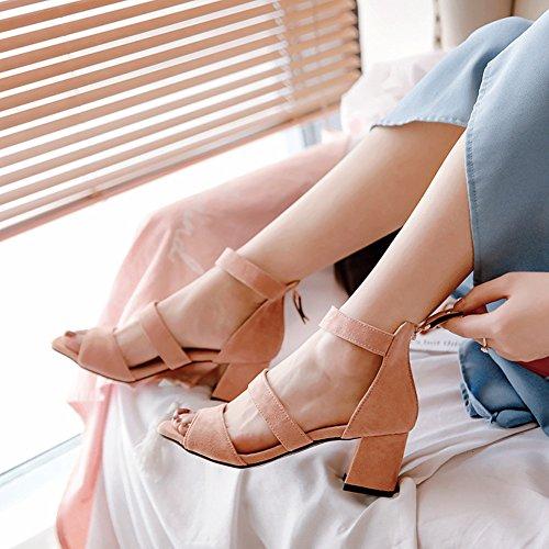 Rosa mit Spangen Damen Sandale Blockabsatz Aisun Zehen Offene Knöchelriemchen Schnalle 67Znqwz0
