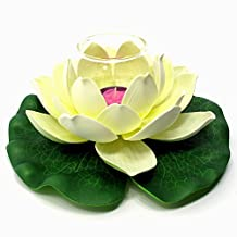 """Floating Lotus Flower with Glass Tealight Candle Holder, Small, Approximately 8"""" Diameter X 3.5""""h, Cream"""