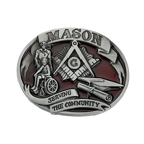 Serving the Conmmunity Mason Masonic Freemason Belt Buckle Vintage Leather Red