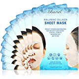 Ebanel 10 Pack Korean Collagen Face Mask Sheet, Deep Moisturizing Instant Hydrating Hyaluronic Acid Facial Masks for Skin Brightening Anti-Aging Anti-Wrinkle with Stem Cell Extracts and Peptide