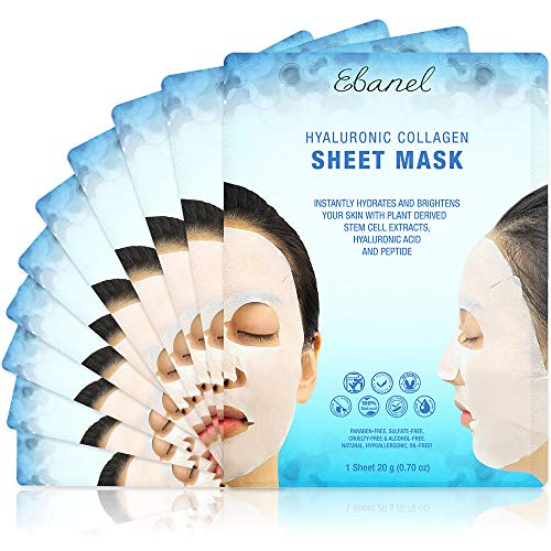 Ebanel 10 Pack Collagen Face Mask, Instant Brightening & Hydrating Face Sheet Mask with Aloe Vera, Hyaluronic Acid…