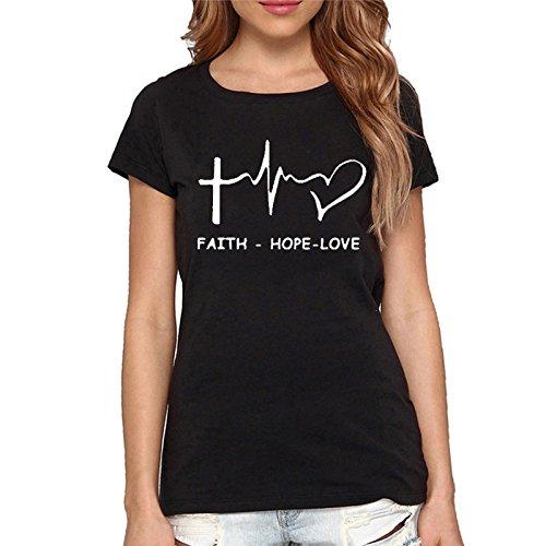 Yyicool Womens Faith Hope Love Letter Printed Funny T-Shirt Short Sleeve Juniors Tops Tees