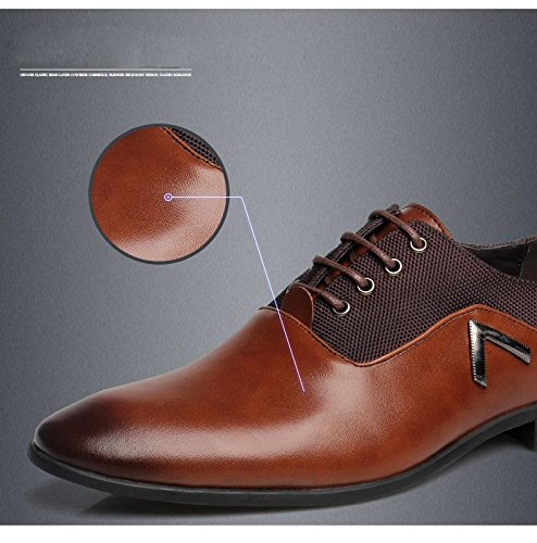 Men Pointed Toe Business Dress Formal Leather Shoes Flat Oxfords Loafers Slip On by Gaorui (Image #6)