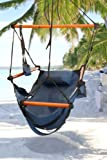 Hammock Hanging Chair Air Deluxe Sky Porch Swing Indoor/outdoor Garden Patio Yard Chair - Solid Wood 250lb, Blue - Durable and Weather Resistant