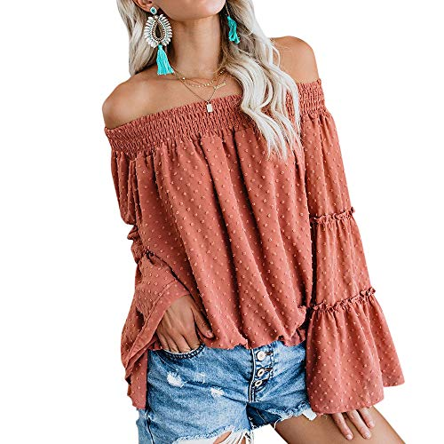 MOOSLOVER Women Sexy Off The Shoulder Tops Chiffon...