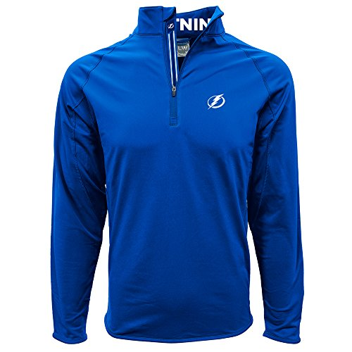 Levelwear LEY9R NHL Tampa Bay Lightning Men's Metro Insignia Banner Stripe Quarter Zip Mid-Layer Apparel, Small, Royal Blue