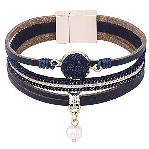 wrap Bracelets Boho Multilayer Cuff Bracelet Handmade Wristband Braided Rope Cuff Bangle with Alloy Magnetic Clasp Jewelry for Women Teen Girl Gift (Pearl-Navy Natural Stone)