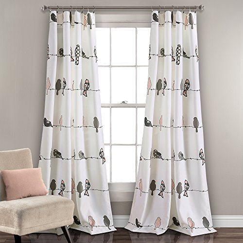 Lush Decor Rowley Birds Curtains Room Darkening Window Panel Set for Living, Dining, Bedroom (Pair), 84