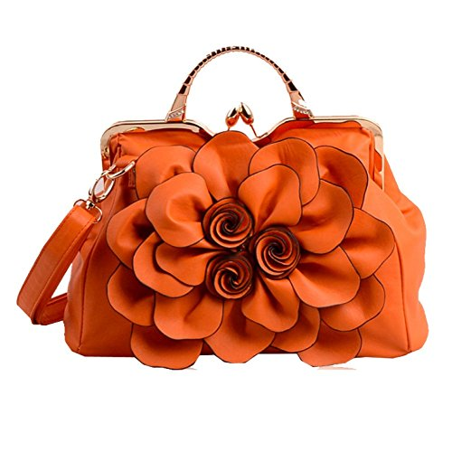 Night Metal Clutch Frame Kiss Lock Ademi Night Froral Satin Design Orange Donna d8Z5w0