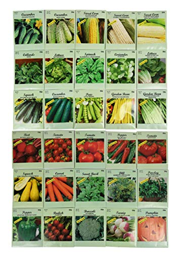 Set of 30 Pack Vegetable Seeds! 30 Varieties! Create a Deluxe Garden! All Seeds are Heirloom, 100% Non-GMO! by Black Duck Brand 30 Different Varieties -