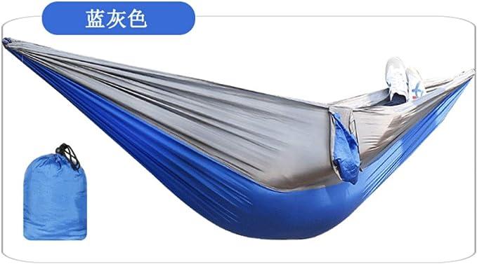 UD-strap Hamaca Interior Exterior Doble Tela De Aterrizaje 210t Ni Seda Spinning 270 * 140cm Blue Grey: Amazon.es: Deportes y aire libre
