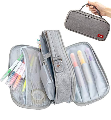 Pencil Case Pen Bag Holder Pouch Large Handle Big Capacity Desk Organizer Storage Marker Box Stationary Makeup Cosmetic Double Zippers for School Office Students Teen (Gray)