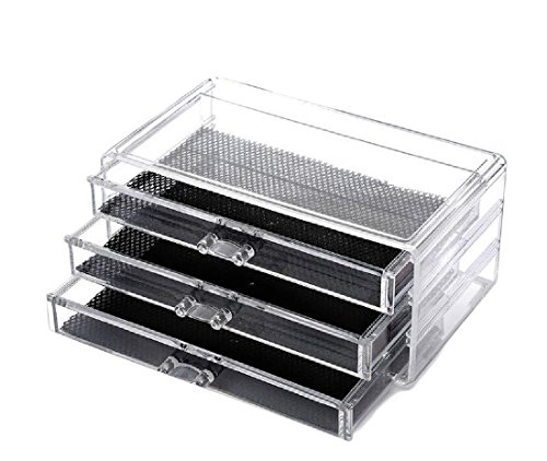 Comaba Makeup Organizer Clear Cosmetics for Creams Jewelry Lipsticks Brushes with 4 set of Drawers Save Space Acrylic Case Boxes Case AS12 One Size by Comaba