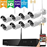 [Dream Liner] xmartO 8 Channel 960p HD Wireless security Camera System with 8x 960p HD 1.3Megapixel WiFi IP Cameras (Auto-Pair, NVR built-in Router, 80ft IR, No HDD)