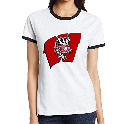 Price comparison product image C-DIY Women's Two-toned T Shirt High Quality University Of Mascot Wisconsin Madison M Black