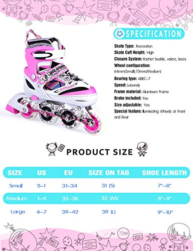 Kuxuan Kids Doodle Design Adjustable Inline Skates with Front and Rear Led Light up Wheels, Comic Style Rollerblades for Boys and Girls - Pink S by Kuxuan (Image #4)