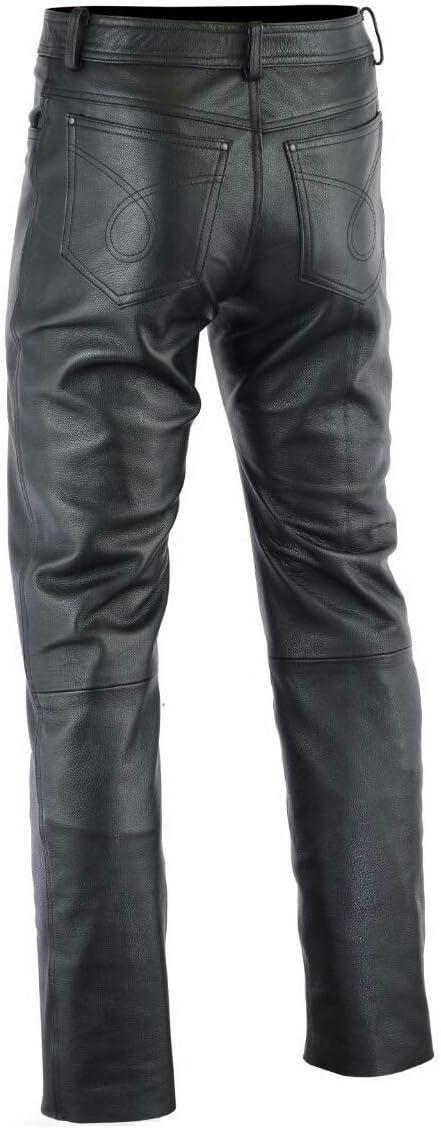 Jeans Colore Nero 30 Gaudi-Leathers Pantaloni da Moto in Pelle Pantaloni da Uomo Moto per Motocicletta Moto Biker
