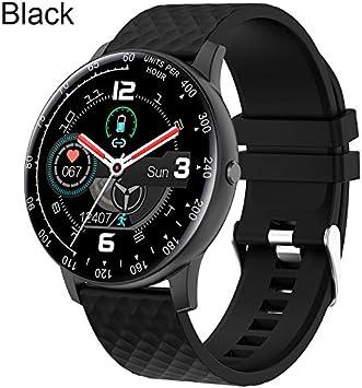 QXbecky Reloj táctil Completo Reloj Inteligente Hombres presión ArterialIP68Impermeable rastreador de Fitness Reloj Mujer paraAndroid Negro