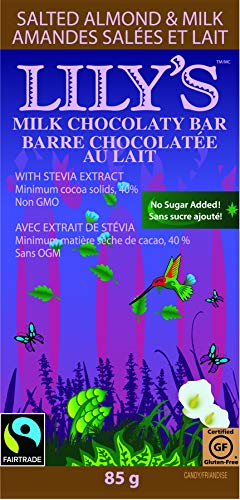 Salted Sweet Sugar - Lily's Sweets Salted Almond and Milk Chocolate Bar, 3 oz