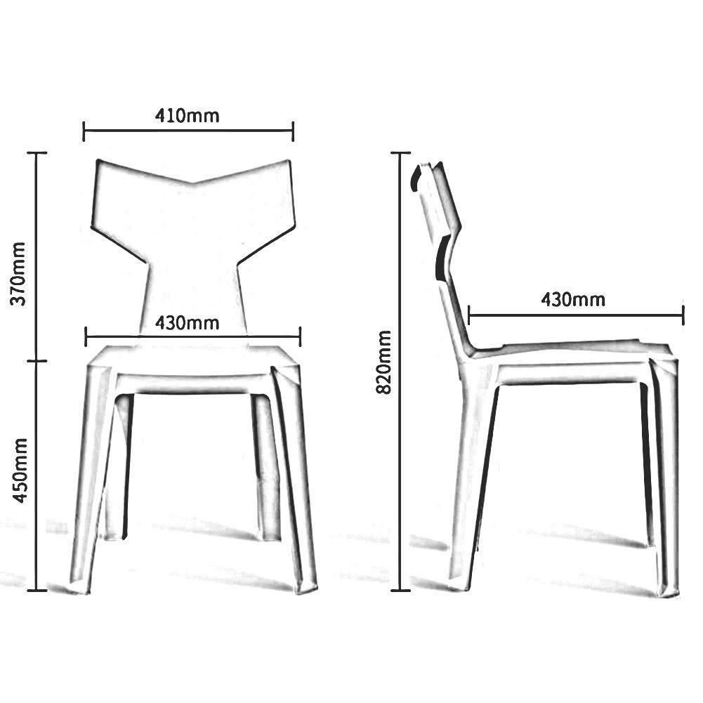 JIEER-C Fritidsstolar matstol uppsättning med 2 moderna möbler restaurang bordsstol plast ryggstöd stol 6 färger 41 x 43 x 82 cm hållbar stark vit