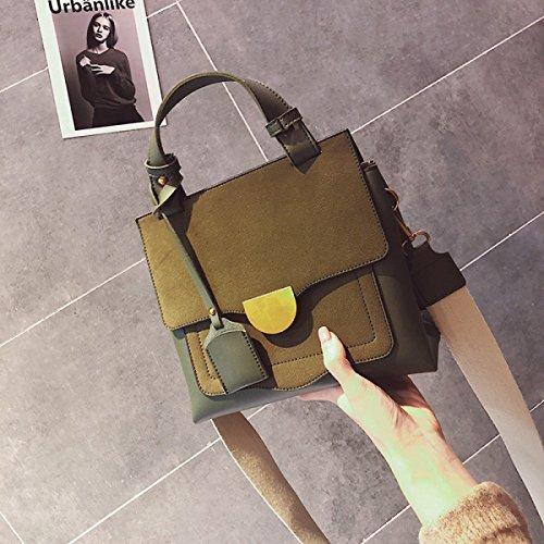 Bolso Femenino Otoño Salvaje Versión Coreana Bolso De Hombro Personalidad Moda Matorral Bolso Cuadrado Pequeño Retro Bolso Del Mensajero Green