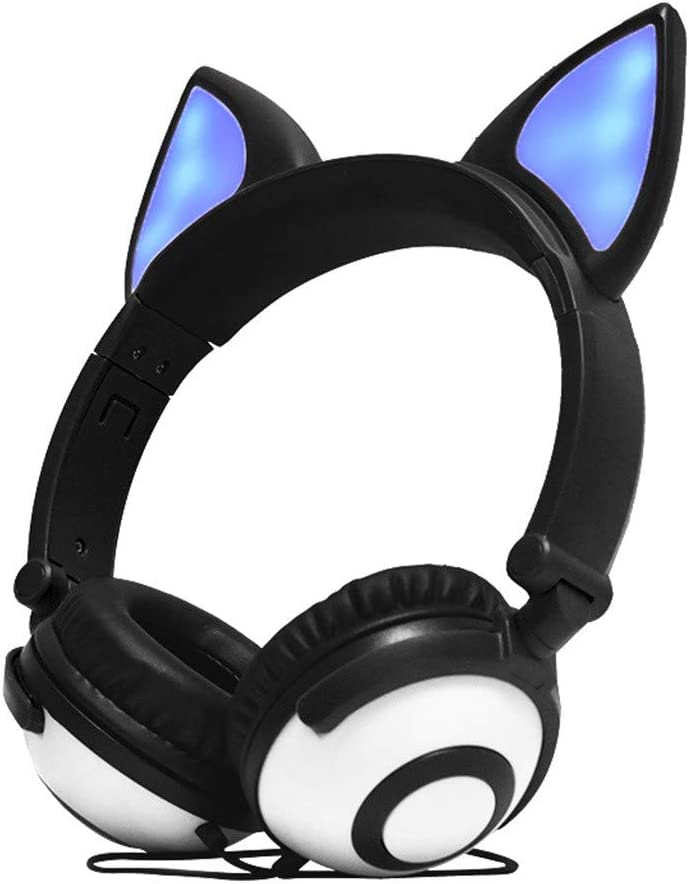 EDTO Gaming Headset Cat Ear for PS4, PC, Xbox One Controller, Noise Cancelling Over Ear Headphones Mic, LED Light, Bass Surround, Soft Memory Earmuffs for Laptop Mac Nintendo Games