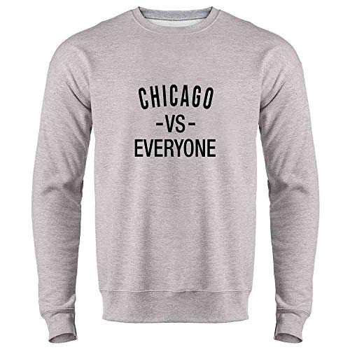 - Pop Threads Chicago vs Everyone Sports Fan Heather Gray 2XL Mens Fleece Crew Sweatshirt