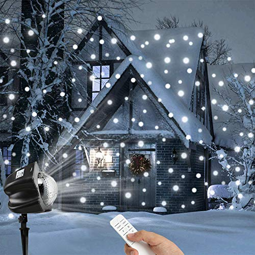 Snowflake Collection Tree Skirt - VonVonCo Christmas Moving Snowflakes Projector Light, 3.6W Projection Spotlight Christmas Lamp (250×240×230mm, Black)