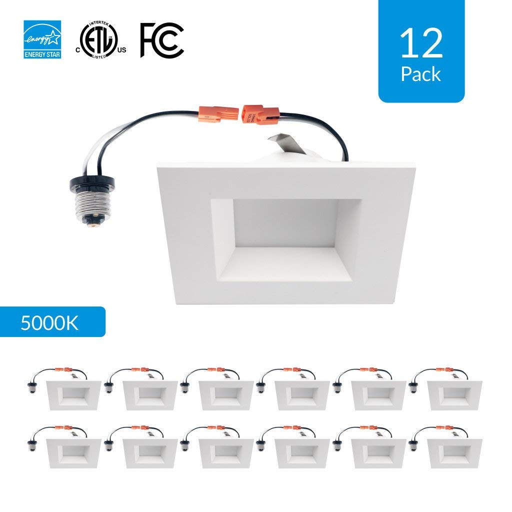 """Cool White 12W Retrofit CRI 90+ Energy Star /& FCC Approved 12-Pack 6-inch Dimmable LED Square Downlights 6/"""" Square Design Replace 100W cETLus 4000K 950 Lumens High CRI"""