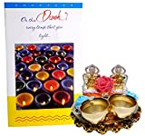 Siddhi Gifts Diwali Greeting Card With Shree Ganesh Idol With Lakshmi Ganesh Kumkum Holder