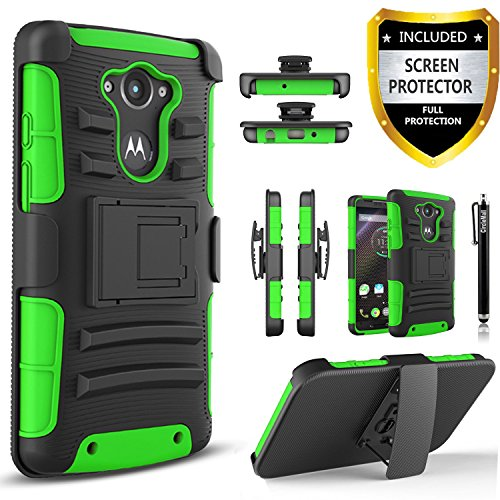 Droid Turbo Case, Motorola Droid Turbo Case, Combo Rugged Shell Cover Holster with Built-in Kickstand and Holster Locking Belt Clip Green + Circle(TM) Stylus Touch Screen Pen
