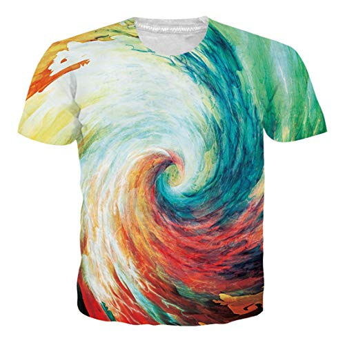 (Alistyle Unisex Casual 3D Print Colorful Storm Short Sleeve T-Shirt Graphic Tees)