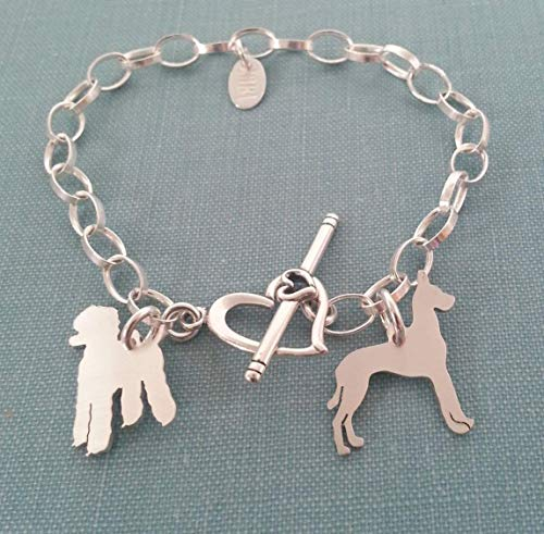 .925 sterling silver multi Dog Charm Chain Bracelet Heart Toggle jewelry