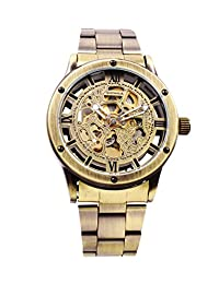 Mens Automatic Mechanical Skeleton Watch Metal Bracelet Bronze Tone Steampunk MW-160