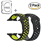 Apple Watch Band 42MM, JINGCI Sport Silicone Wristband Replacement Strap with Adjustable Buckle and Quick Release for Apple Watch Nike+ Series 3/2/1/Edition,2 Pack(42MM-black/gray+black/yellow)