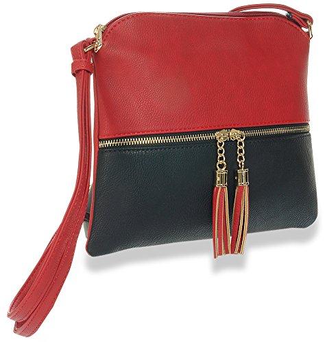 Zipper Accented Crossbody Sling (Accented Sling Handbag)
